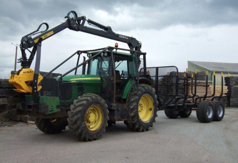 Grue Kesla 500 + remorque Kesla 12 T sur Tracteur